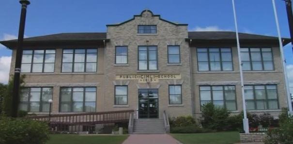 Town Hall, formerly the public school in Gimli, Manitoba, Canada