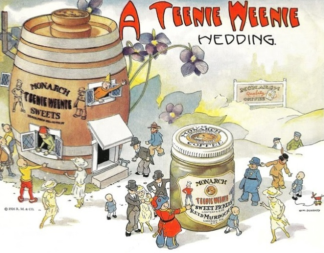 Teenie Weenies ad for Monarch Foods with a small pickle barrel house