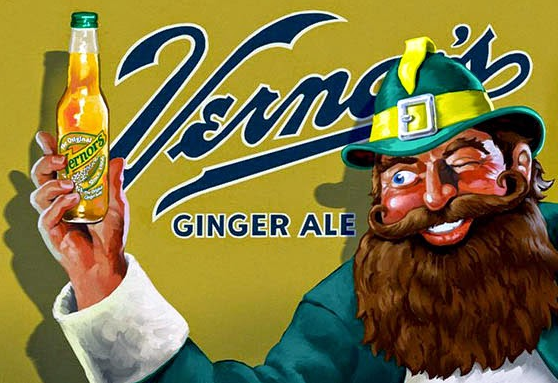 Advertisement with Woody the Gnome holding a bottle of Vernor's Ginger Ale